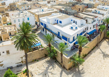 mohammedan: SOUSSE, TUNISIA - AUGUST 28, 2015: The Medina of Sousse is full of traditional stores and stalls, Built in arabic style, on August 28 in Sousse.