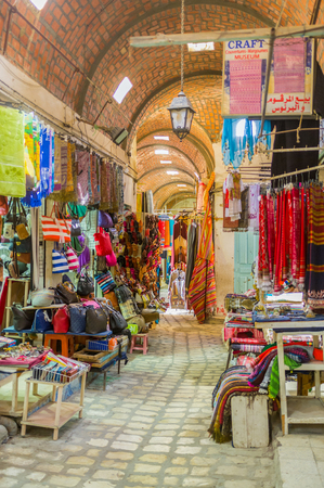 souq: SOUSSE, TUNISIA - AUGUST 28, 2015: The souq El-Caid offers the wide range of different goods, on August 28 in Sousse.
