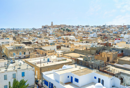 souq: The fortress of Ribat is the perfect place to overlook Medina, Sousse, Tunisia.
