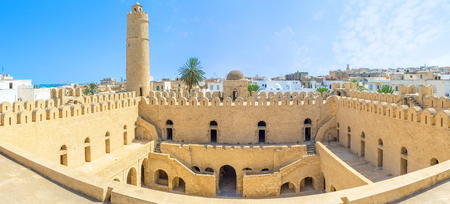 multilevel: The ramparts of Ribat citadel overlook the old Medina and also the large multilevel courtyard of citadel, Sousse, Tunisia. Editorial