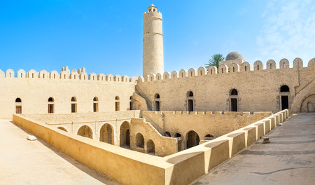multilevel: Panorama of the multilevel Ribat fortress, topped with the high tower, Sousse, Tunisia.