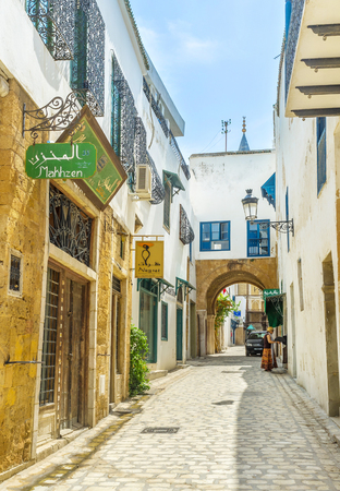 september 2: TUNIS, TUNISIA - SEPTEMBER 2, 2015: Medina of Tunis is the tourist district with many landmarks, on September 2 in Tunis. Editorial