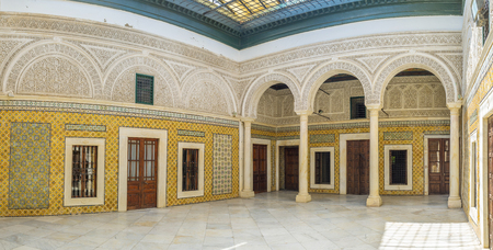 september 2: TUNIS, TUNISIA - SEPTEMBER 2, 2015: The tiled courtyards of Dar Lasram mantion are the masterpieces of the medieval art, on September 2 in Tunis.