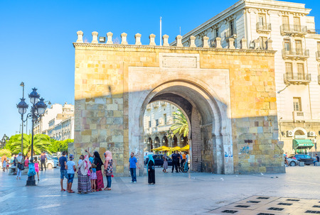 TUNIS, TUNISIA - AUGUST 30, 2015: The famous sea gate is one of the most popular tourist landmarks in town, on August 30 in Tunis.