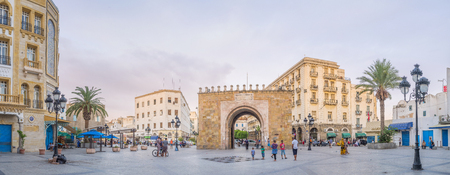 bab: TUNIS, TUNISIA - AUGUST 30, 2015: Panorama of the Bab el Bhar square with the sea gate in the middle, on August 30 in Tunis.
