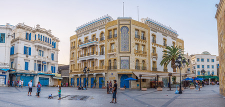 bab: TUNIS, TUNISIA - AUGUST 30, 2015: The luxury mansion located on the Bab el Bhar square, on August 30 in Tunis. Editorial