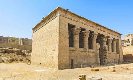 triad: The great Temple in Esna dedicated to the triad of the ancient gods - Khnum, Neith and Heka, Upper Egypt.
