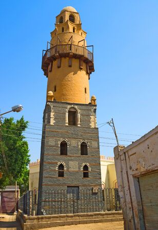 water tower: The colorful water tower in the old neighborhood of Esna, Egypt.