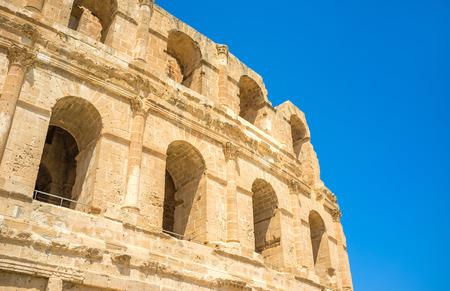 amphitheatre: The ancient wall of amphitheatre with the numerous arches, El Jem, Tunisia. Stock Photo