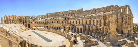 welth: EL JEM, TUNISIA - SEPTEMBER 1, 2015: The Tunisia Colosseum is the notable landmark showing the welth and rich of the ancient civilization, on September 1, in El Jem.