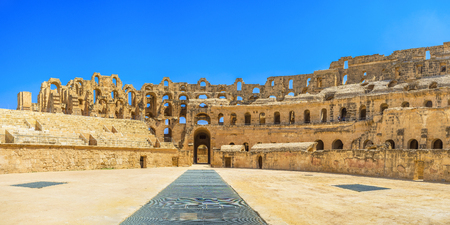 amphitheatre: EL JEM, TUNISIA - SEPTEMBER 1, 2015: The Roman amphitheatre serves as museum and the stage for the different performances and events, on September 1, in El Jem. Editorial