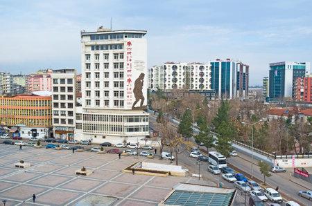 residential neighborhood: DIYARBAKIR, TURKEY - JANUARY 15, 2015: The wide boulevard and multistoried residential buildings in the modern city neighborhood, on January 15 in Diyarbakır.