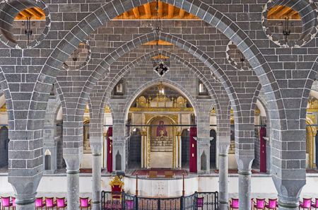 iconostasis: DIYARBAKIR, TURKEY - JANUARY 15, 2015: The interior of the Apostolic Armenian church, that is one of the largest and most important churches in the Middle East, on January 15 in Diyarbakir.