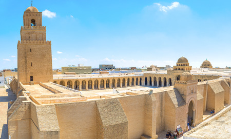 kairouan: KAIROUAN, TUNISIA - AUGUST 30, 2015: The Great Mosque of Kairouan (Mosque of Uqba) is one of the most important mosques in Tunisia, on August 30 in Kairouan. Editorial