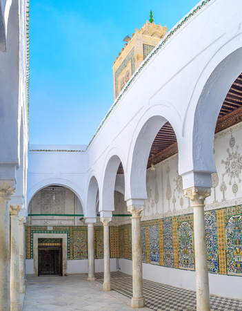 kairouan: KAIROUAN, TUNISIA - AUGUST 30, 2015: The scenic courtyard of Zaouia Sidi Sahab decorated in Andalusian style, on August 30 in Kairouan. Editorial