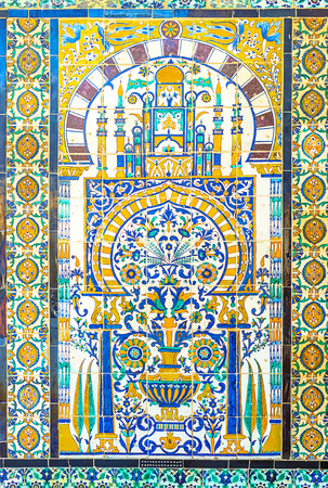 kairouan: KAIROUAN, TUNISIA - AUGUST 30, 2015: The glazed tiled screen with the beautiful islamic ornament in Zaouia Sidi Sahab, on August 30 in Kairouan.
