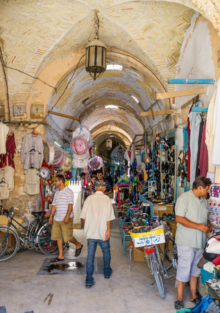 souq: KAIROUAN, TUNISIA - AUGUST 30, 2015: The old covered Souq El-Blaghija market is the best place for discovering Tunisia, on August 30 in Kairouan.