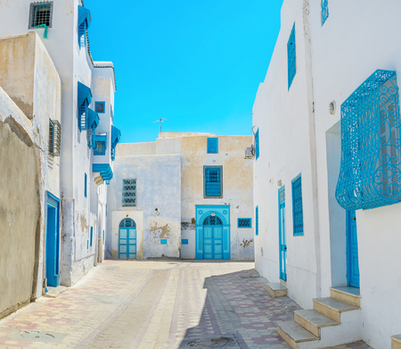 arabic architecture: The old  housing of Kairouan is one of its landmarks, its possible to walk here all day long, enjoying the traditional arabic architecture, Tunisia.