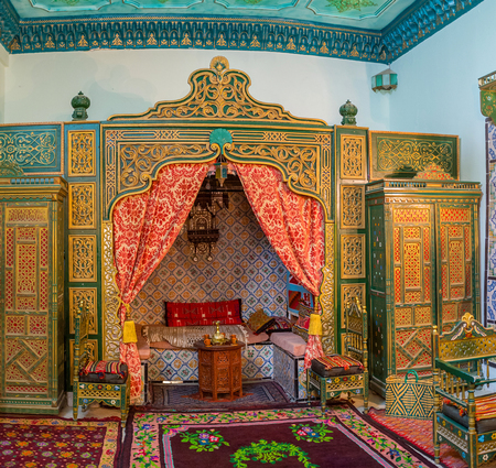 kairouan: KAIROUAN, TUNISIA - AUGUST 30, 2015: The luxury arabic interior of divan room in Governors mansion, on August 30 in Kairouan.