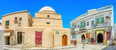 kairouan: KAIROUAN, TUNISIA - AUGUST 30, 2015: The Bir Barouta camel powered well is the unique landmark, and holy place for muslims, on August 30 in Kairouan.