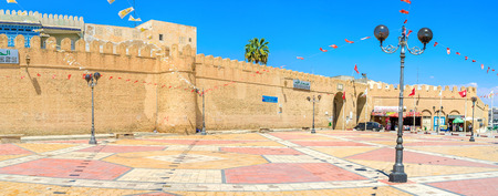 kairouan: KAIROUAN, TUNISIA - AUGUST 30, 2015: The square next to the gates, leading to Medina, on August 30 in Kairouan. Editorial