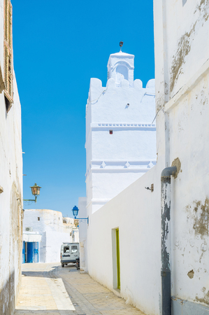 kairouan: Medina of Kairouan hides many small mosques in its narrow streets, Tunisia. Stock Photo