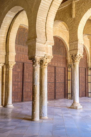 kairouan: The shady terrace with many pillars located in courtyard of Grand Mosque in Kairouan, Tunisia.