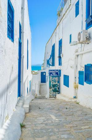 sidi bou said: SIDI BOU SAID, TUNISIA - AUGUST 31, 2015: The mountain village consists of white houses with blue doors and windows, on August 31 in Sidi Bou Said.