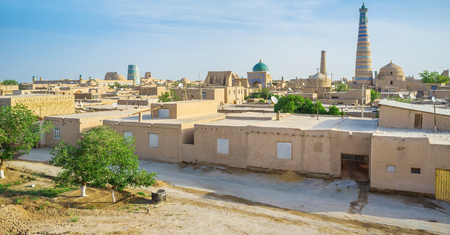 almost all: Almost all residential houses in Itchan Kala built of clay and the main town landmarks are of brick with glazed tile decorations, Khiva Uzbekistan.