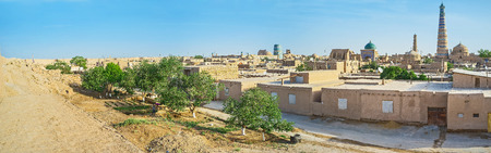 rampart: The top of the rampart is the best place to enjoy the panoramic views of Itchan Kala, Khiva, Uzbekistan.