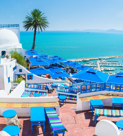sidi bou said: SIDI BOU SAID, TUNISIA - AUGUST 31, 2015: The village offers all the facilities for the best time spending and relax, on August 31 in Sidi Bou Said. Editorial