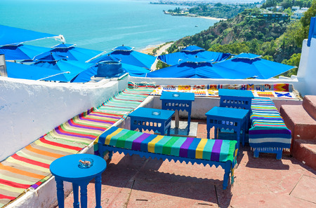 sidi bou said: Sidi Bou Said located on the mountain that overlooks the indented coastline and hills covered with green forest, Tunisia.