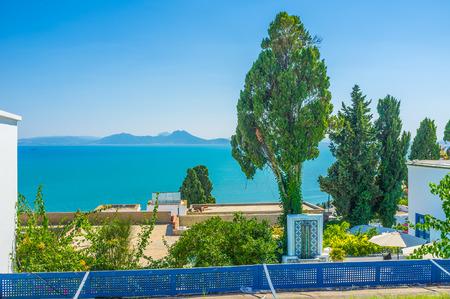 sidi bou said: The view on Cap Bon from the mountain village of Sidi Bou Said, Tunisia.