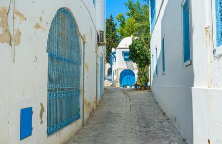 sidi bou said: The typic for Sidi Bou Said street with the white houses, blue doors and windows, Tunisia.