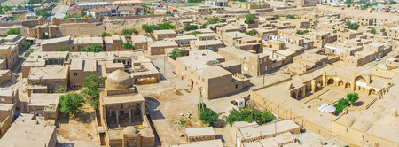 Khiva from the air looks like the travel in time, because Itchan Kala is well preserved medieval fortification, Uzbekistan.