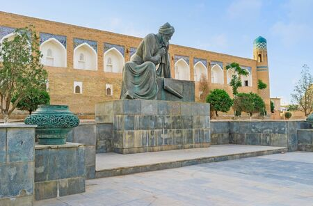 ibn: KHIVA, UZBEKISTAN - MAY 4, 2015: The monument to the famous persian scientist Muhammad ibn Musa al-Khwarizmi (Algoritmi), on May 4 in Khiva.