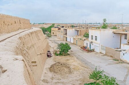 best way: The best way to discover the ancient Khiva is to walk on its ramparts around the town, Uzbekistan.