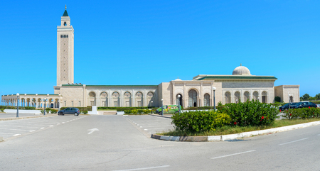 september 2: CARTHAGE, TUNISIA - SEPTEMBER 2, 2015: The large stone Mosque of Malek Ibn Anas de Carthage, on September 2 in Carthage. Editorial