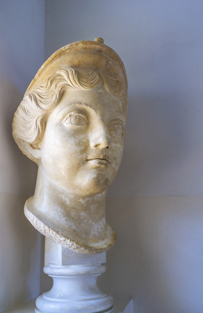september 2: CARTHAGE, TUNISIA - SEPTEMBER 2, 2015: The sculpture female head in museum of Carthage, on September 2 in Carthage.