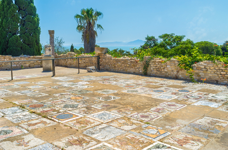 september 2: CARTHAGE, TUNISIA - SEPTEMBER 2, 2015: The preserved floor of the ancient Roman villa covered with masterpiece mosaics, on September 2 in Carthage.