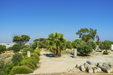 archaeological sites: There are a lot of archaeological sites in Carthage, one of the most popular located on Byrsa Hill, Tunisia. Stock Photo