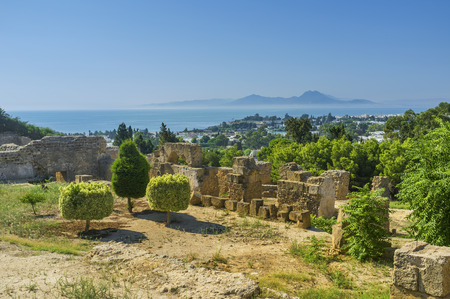 archaeological sites: The archaeological sites of Carthage located on the hilly area covered with lush green gardens, Tunisia.