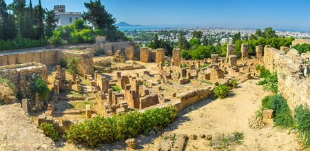 archaeological sites: The archaeological sites of Carthage are the notable landmarks of Tunisia. Stock Photo