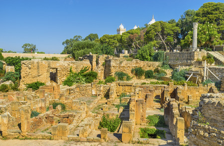 The antique ruins on Byrsa Hill are the impirtant part of the tourist routes, Carthage, Tunisia.