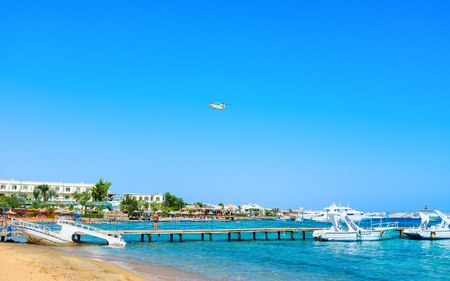 guard house: The military helicopter provides security at the resort, flying over recreation area, on October 13 in Hurghada.