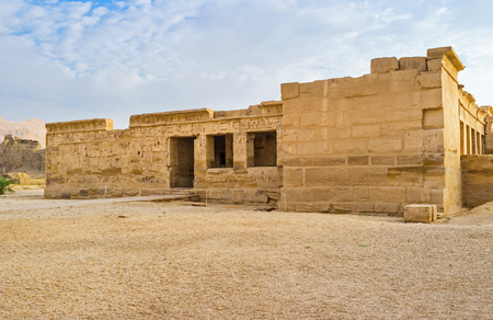eligion: The ruins of the side buildings of Habu Temple (Ramesses III Temple), Luxor, Egypt.