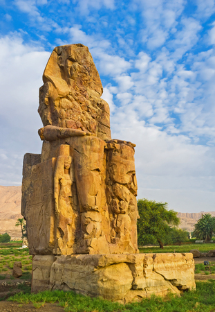 quartzite: The Memnon Colossus in Theban Necropolis are the only preserved part of the memorial temple of Amenhotep III, Luxor, Egypt.