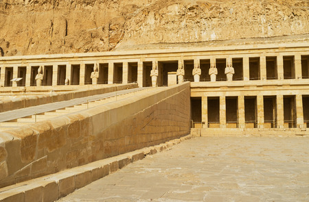colonnaded: The Hatshepsut Memorial Temple is famous for its colonnaded design, Luxor, Egypt.