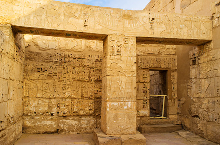 corridors: The Habu Temple consists of large halls, courts with columns and also has many small chambers and narrow corridors, Luxor, Egypt.