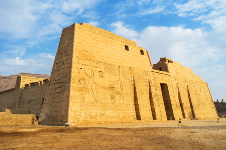 eligion: The great Temple of Ramesses III in Medinet Habu is the notable landmark of Luxor, Egypt.